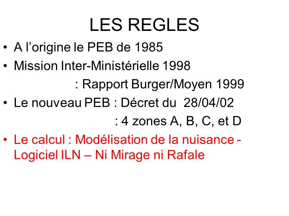 LES REGLES A l'origine le PEB de 1985 Mission Inter-Ministérielle 1998 : Rapport Burger/Moyen 1999 Le nouveau PEB : Décret du 28/04/02 : 4 zones A, B, C, et D Le calcul : Modélisation de la nuisance - Logiciel ILN – Ni Mirage ni Rafale
