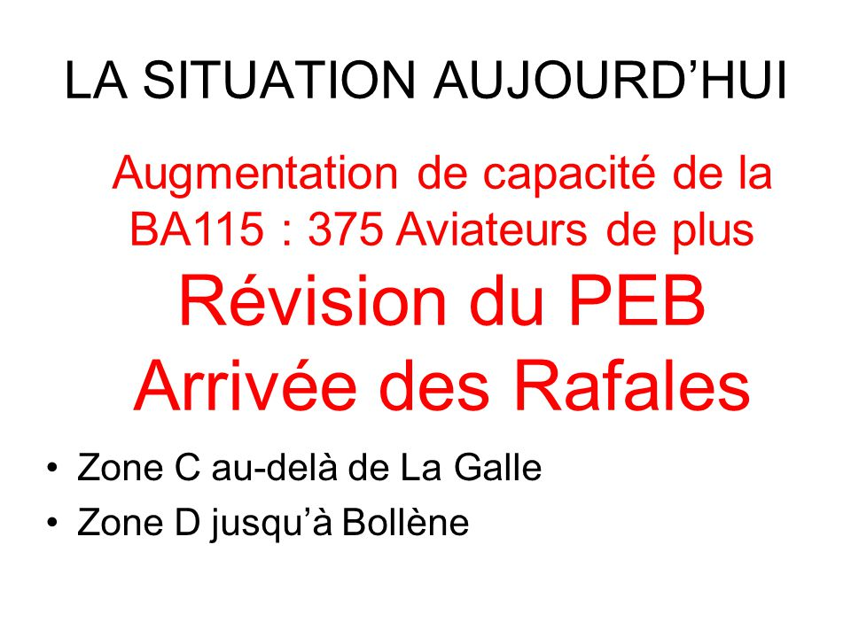 LA SITUATION AUJOURD'HUI Zone C au-delà de La Galle Zone D jusqu'à Bollène Augmentation de capacité de la BA115 : 375 Aviateurs de plus Révision du PEB Arrivée des Rafales