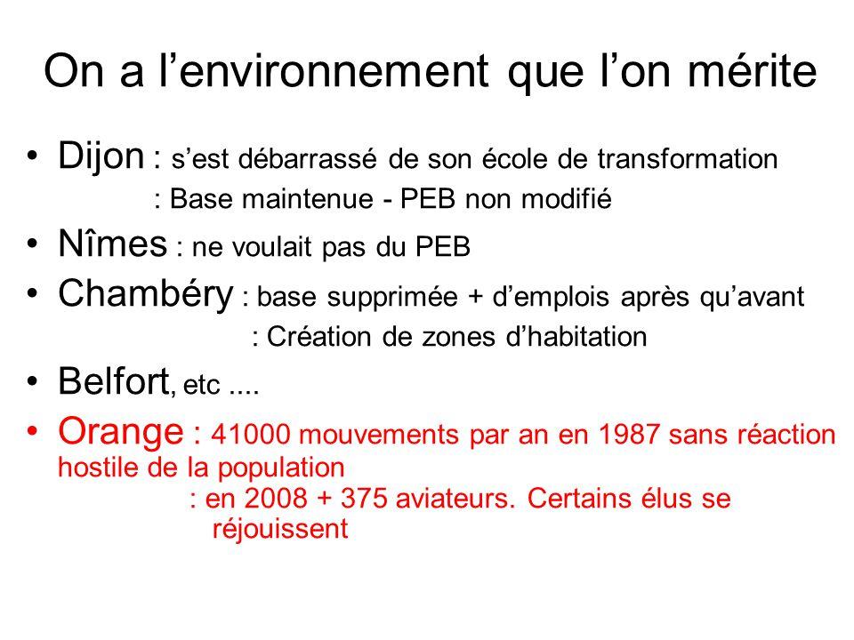 On a l'environnement que l'on mérite Dijon : s'est débarrassé de son école de transformation : Base maintenue - PEB non modifié Nîmes : ne voulait pas du PEB Chambéry : base supprimée + d'emplois après qu'avant : Création de zones d'habitation Belfort, etc....