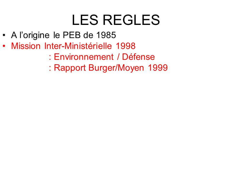 LES REGLES A l'origine le PEB de 1985 Mission Inter-Ministérielle 1998 : Environnement / Défense : Rapport Burger/Moyen 1999