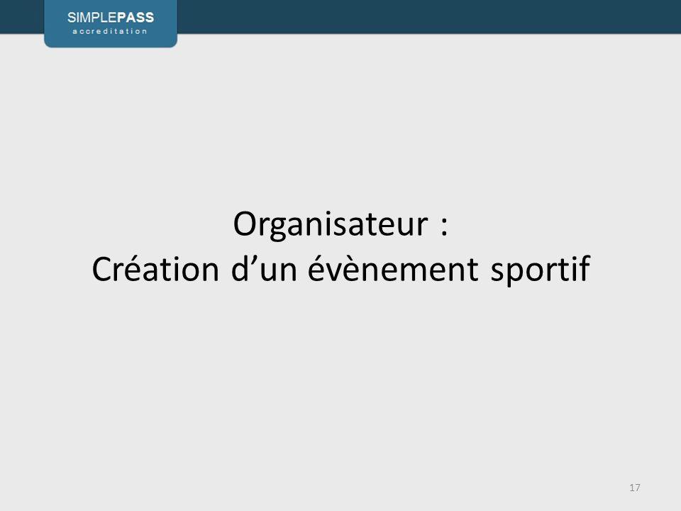 Organisateur : Création d'un évènement sportif 17