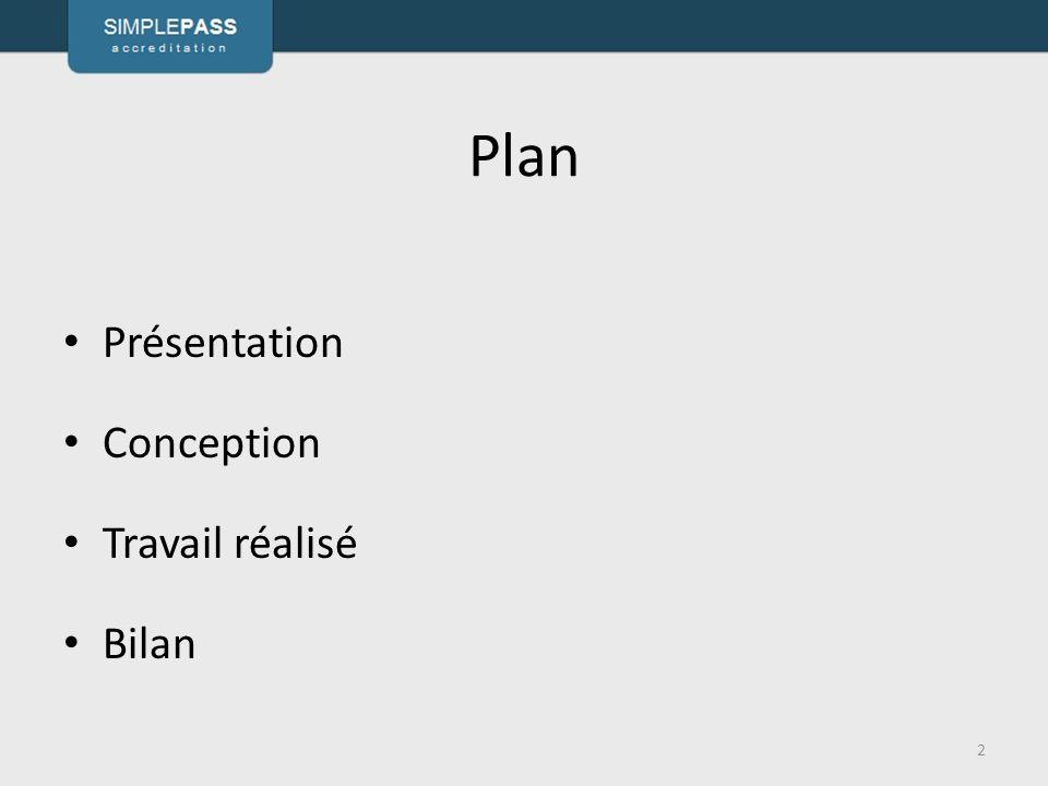 Plan Présentation Conception Travail réalisé Bilan 2