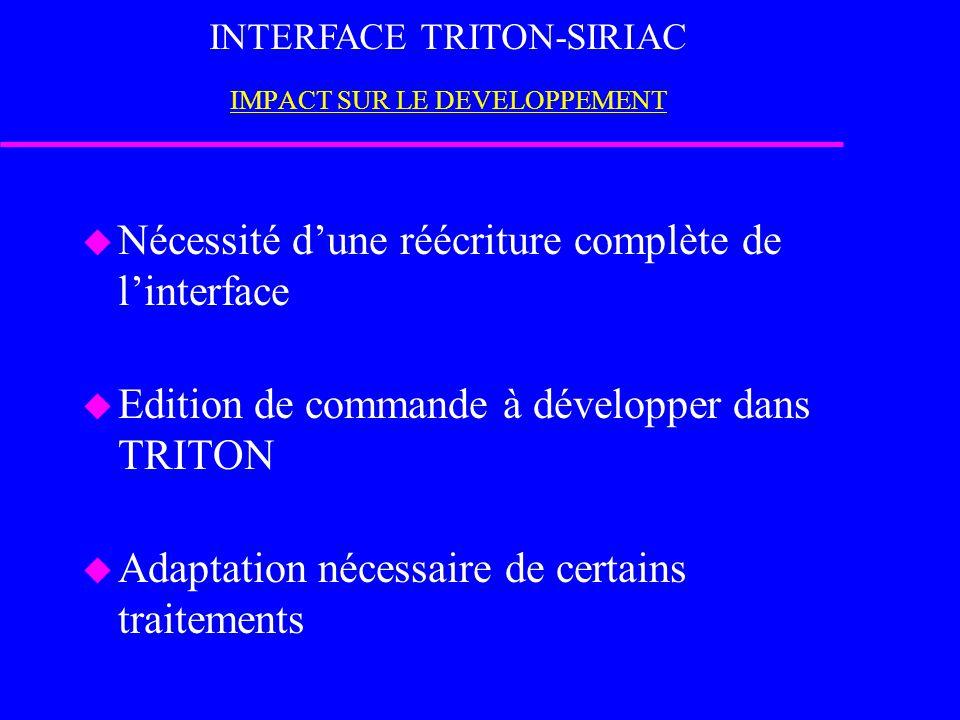 INTERFACE TRITON-SIRIAC IMPACT SUR LE DEVELOPPEMENT u Nécessité d'une réécriture complète de l'interface u Edition de commande à développer dans TRITON u Adaptation nécessaire de certains traitements