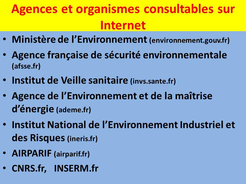 Agences et organismes consultables sur Internet Ministère de l'Environnement (environnement.gouv.fr) Agence française de sécurité environnementale (af
