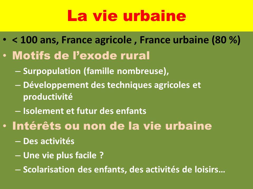 La vie urbaine < 100 ans, France agricole, France urbaine (80 %) Motifs de l'exode rural – Surpopulation (famille nombreuse), – Développement des tech