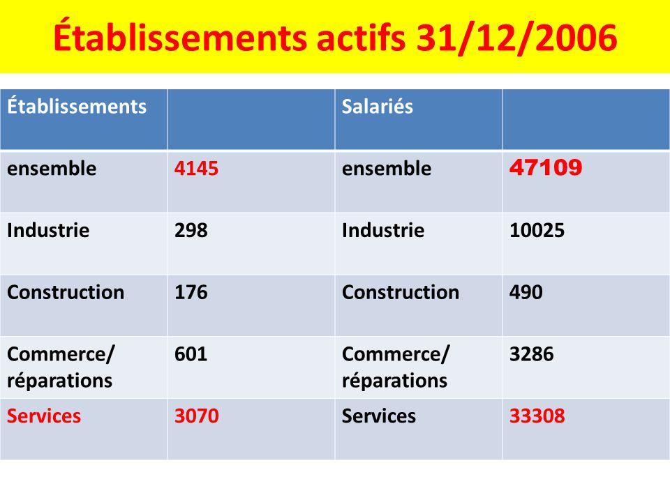 Établissements actifs 31/12/2006 ÉtablissementsSalariés ensemble4145ensemble 47109 Industrie298Industrie10025 Construction176Construction490 Commerce/