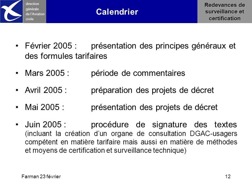 Farman 23 février12 direction générale de l 'Aviation civile Redevances de surveillance et certification Février 2005 : présentation des principes gén