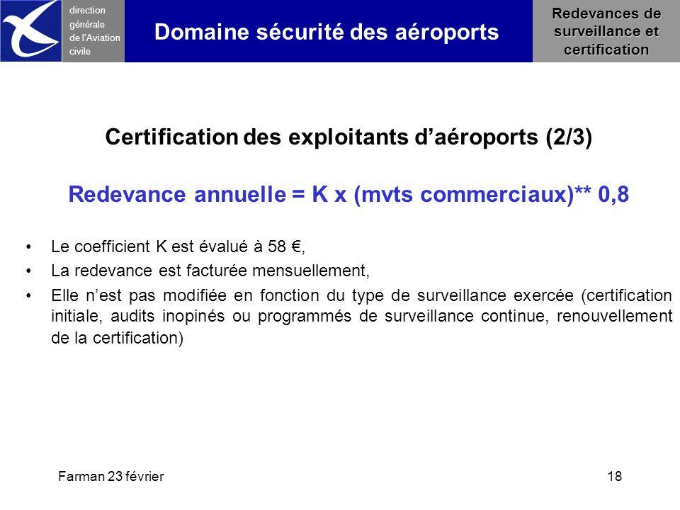 Farman 23 février18 direction générale de l 'Aviation civile Redevances de surveillance et certification Certification des exploitants d'aéroports (2/
