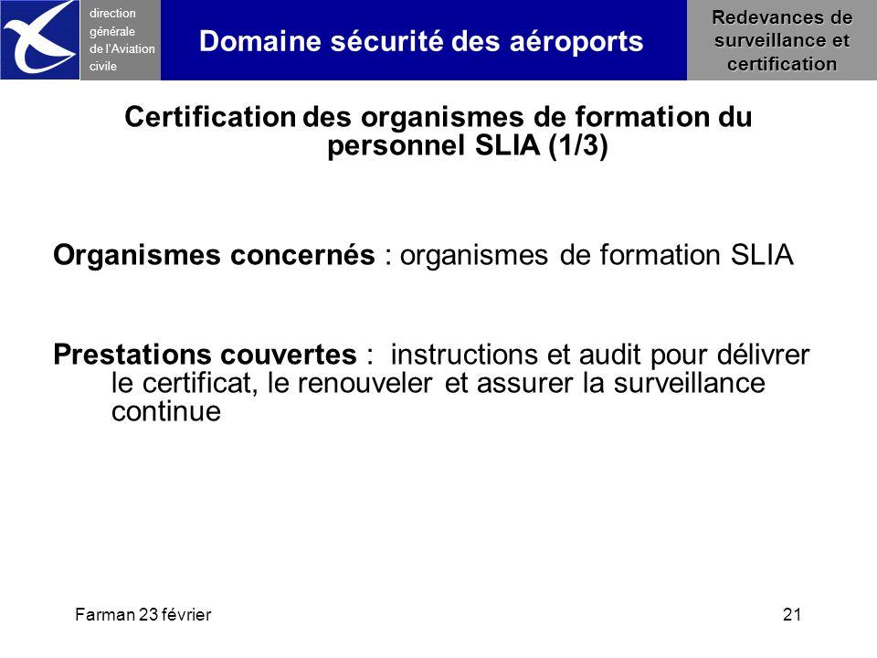 Farman 23 février21 direction générale de l 'Aviation civile Redevances de surveillance et certification Domaine sécurité des aéroports Certification