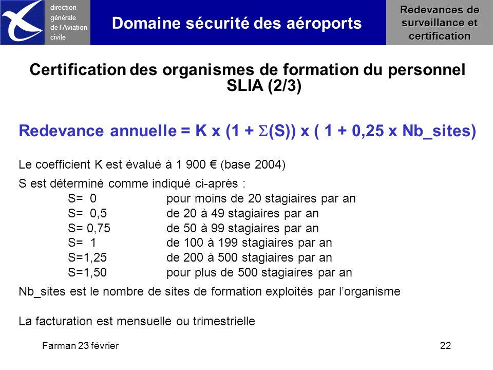 Farman 23 février22 direction générale de l 'Aviation civile Redevances de surveillance et certification Domaine sécurité des aéroports Certification