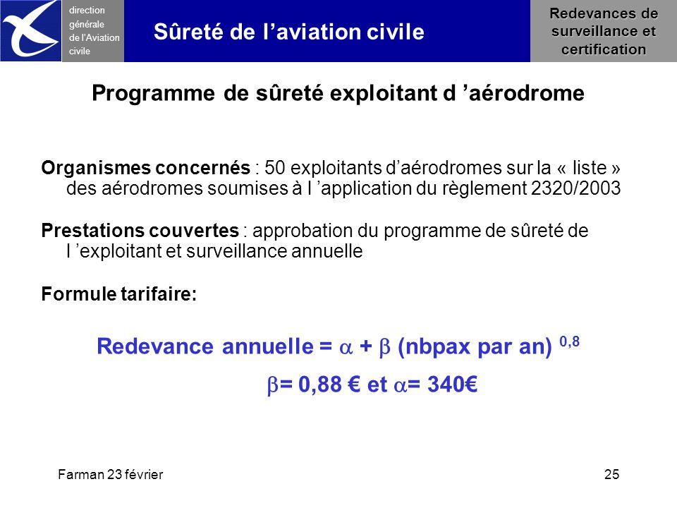Farman 23 février25 direction générale de l 'Aviation civile Redevances de surveillance et certification Programme de sûreté exploitant d 'aérodrome O