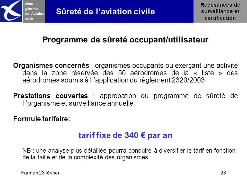 Farman 23 février28 direction générale de l 'Aviation civile Redevances de surveillance et certification Sûreté de l'aviation civile Programme de sûre