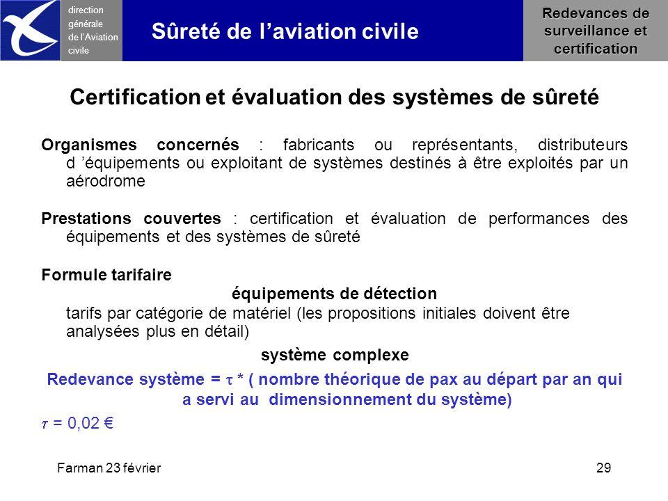 Farman 23 février29 direction générale de l 'Aviation civile Redevances de surveillance et certification Sûreté de l'aviation civile Certification et