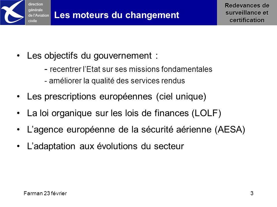 Farman 23 février3 direction générale de l 'Aviation civile Les moteurs du changement Les objectifs du gouvernement : - recentrer l'Etat sur ses missi