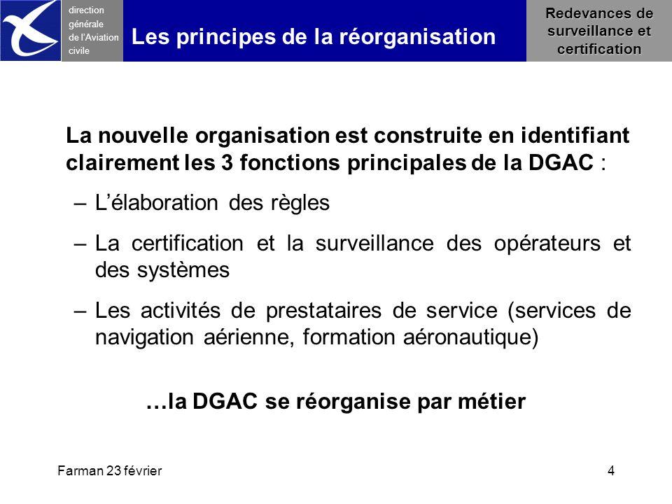 Farman 23 février4 direction générale de l 'Aviation civile Les principes de la réorganisation La nouvelle organisation est construite en identifiant