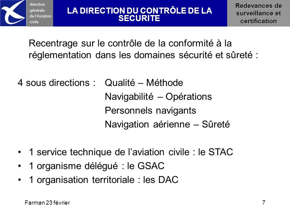 Farman 23 février7 direction générale de l 'Aviation civile LA DIRECTION DU CONTRÔLE DE LA SECURITE Recentrage sur le contrôle de la conformité à la r