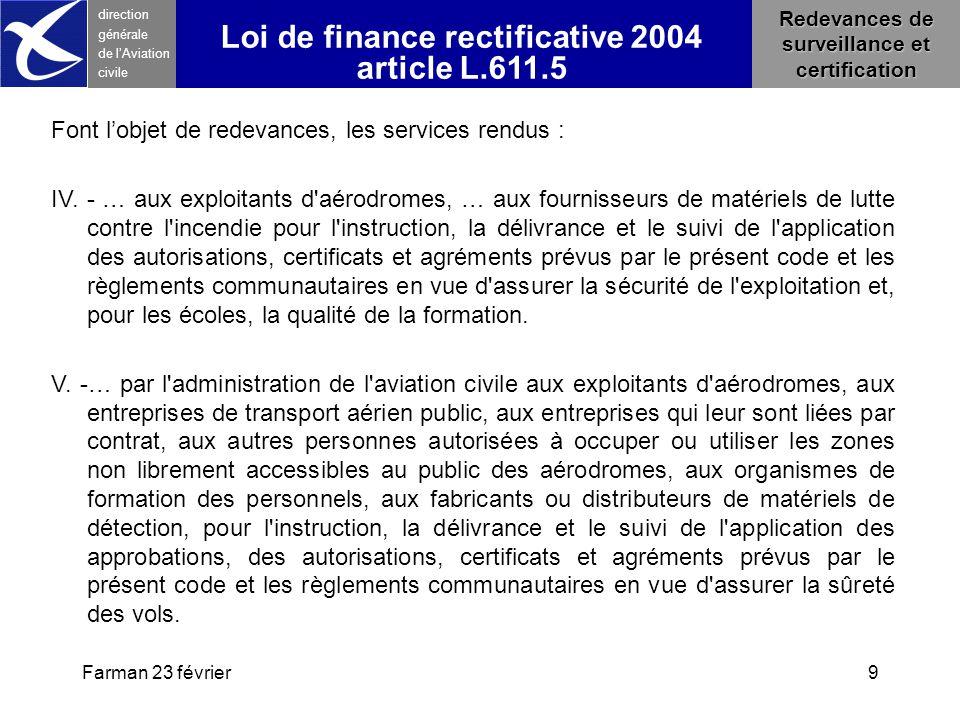 Farman 23 février9 direction générale de l 'Aviation civile Loi de finance rectificative 2004 article L.611.5 Font l'objet de redevances, les services