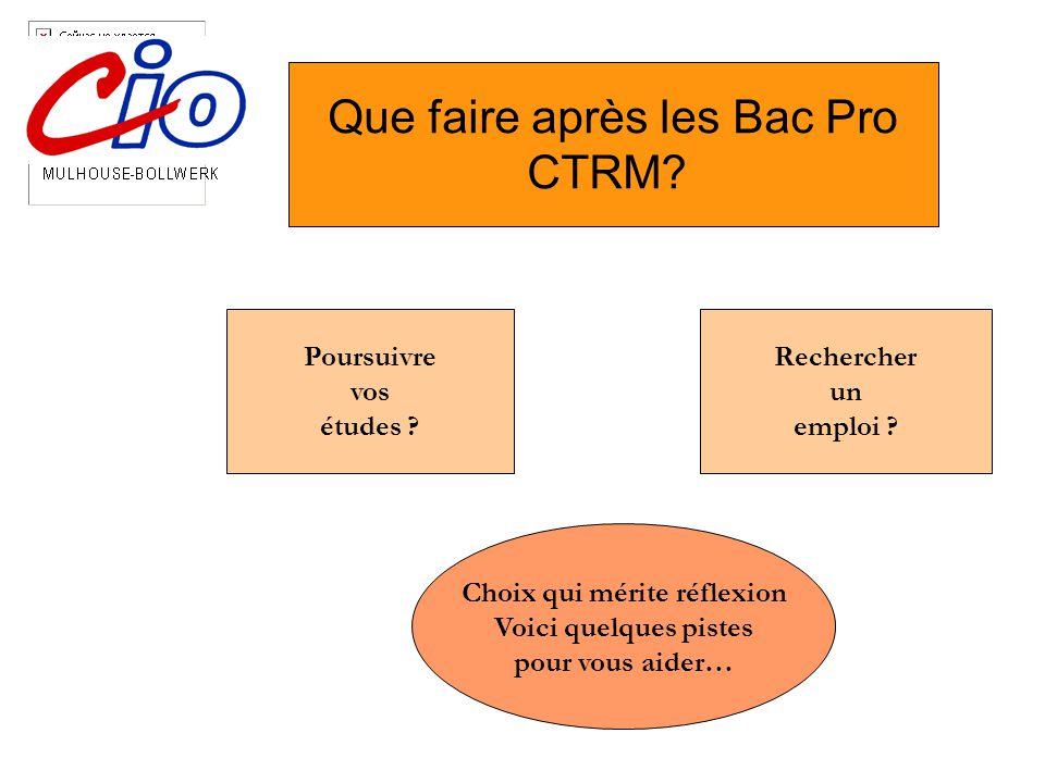 Que faire après les Bac Pro CTRM. Poursuivre vos études .