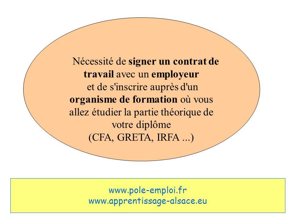 Nécessité de signer un contrat de travail avec un employeur et de s inscrire auprès d un organisme de formation où vous allez étudier la partie théorique de votre diplôme (CFA, GRETA, IRFA...) www.pole-emploi.fr www.apprentissage-alsace.eu