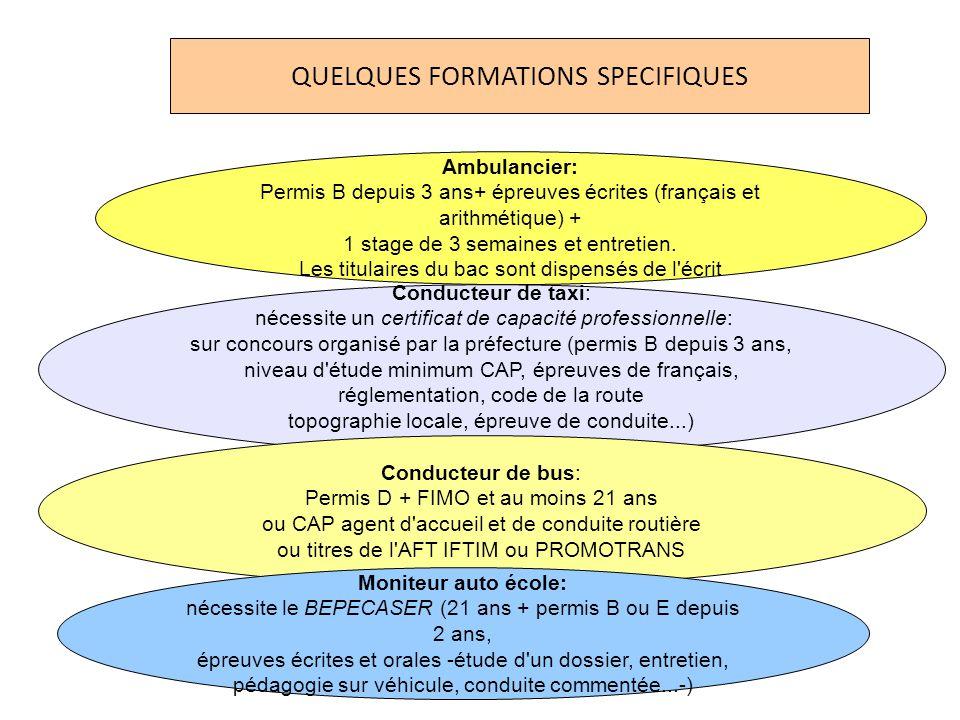 Ambulancier: Permis B depuis 3 ans+ épreuves écrites (français et arithmétique) + 1 stage de 3 semaines et entretien.