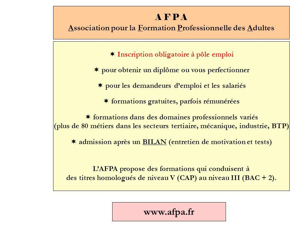A F P A Association pour la Formation Professionnelle des Adultes  Inscription obligatoire à pôle emploi  pour obtenir un diplôme ou vous perfectionner  pour les demandeurs d'emploi et les salariés  formations gratuites, parfois rémunérées  formations dans des domaines professionnels variés (plus de 80 métiers dans les secteurs tertiaire, mécanique, industrie, BTP)  admission après un BILAN (entretien de motivation et tests) L'AFPA propose des formations qui conduisent à des titres homologués de niveau V (CAP) au niveau III (BAC + 2).