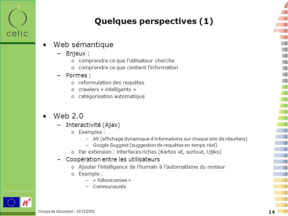 Groupe de discussion - 15/12/2005 14 Quelques perspectives (1) Web sémantique –Enjeux : ocomprendre ce que l utilisateur cherche ocomprendre ce que contient l'information –Formes : oreformulation des requêtes ocrawlers « intelligents » ocatégorisation automatique Web 2.0 –Interactivité (Ajax) oExemples : –A9 (affichage dynamique d informations sur chaque site de résultats) –Google Suggest (suggestion de requêtes en temps réel) oPar extension : interfaces riches (Kartoo et, surtout, Ujiko) –Coopération entre les utilisateurs oAjouter l intelligence de l humain à l automatisme du moteur oExemple : –« folksonomies » –Communautés