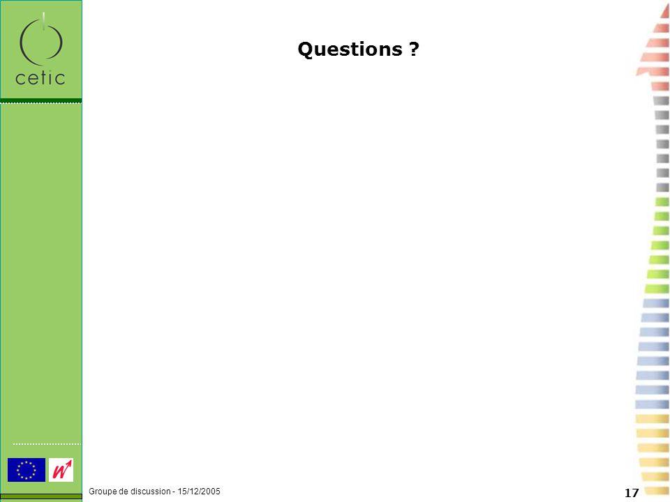 Groupe de discussion - 15/12/2005 17 Questions
