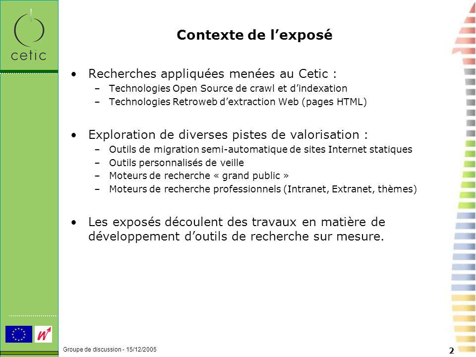 Groupe de discussion - 15/12/2005 3 De quoi parle-t-on .