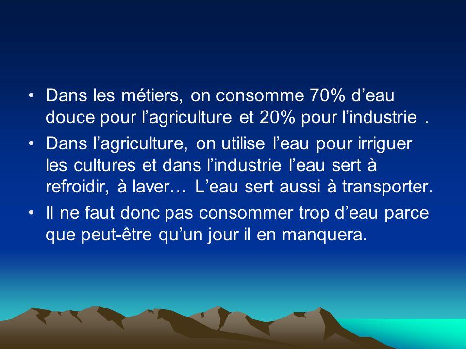 Dans les métiers, on consomme 70% d'eau douce pour l'agriculture et 20% pour l'industrie. Dans l'agriculture, on utilise l'eau pour irriguer les cultu