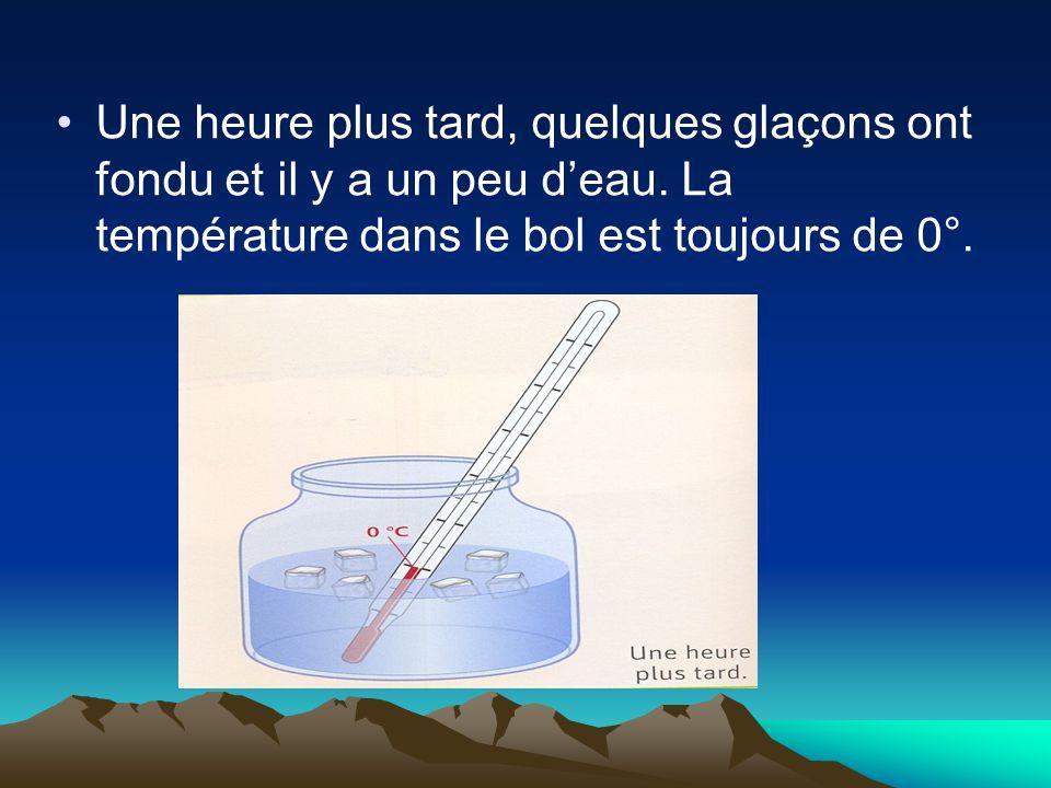 Une heure plus tard, quelques glaçons ont fondu et il y a un peu d'eau. La température dans le bol est toujours de 0°.