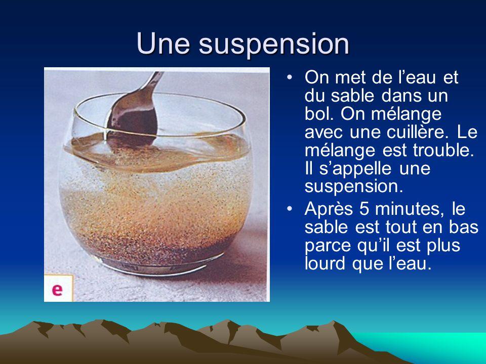Une suspension On met de l'eau et du sable dans un bol. On mélange avec une cuillère. Le mélange est trouble. Il s'appelle une suspension. Après 5 min