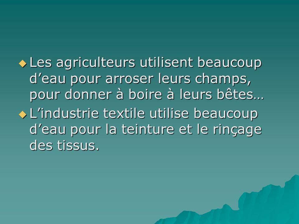  Les agriculteurs utilisent beaucoup d'eau pour arroser leurs champs, pour donner à boire à leurs bêtes…  L'industrie textile utilise beaucoup d'eau