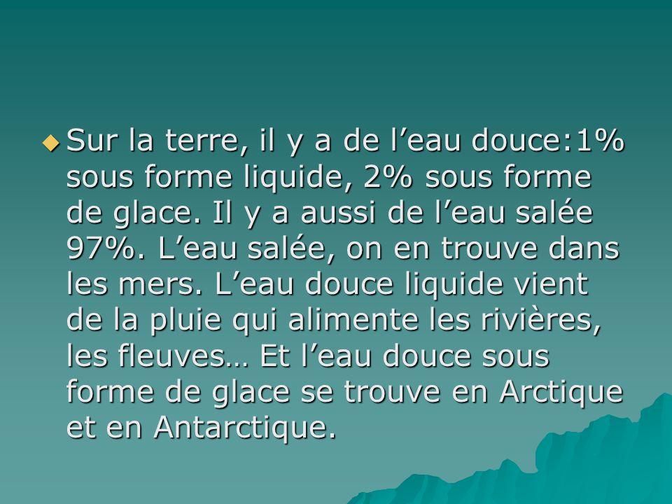  Sur la terre, il y a de l'eau douce:1% sous forme liquide, 2% sous forme de glace. Il y a aussi de l'eau salée 97%. L'eau salée, on en trouve dans l