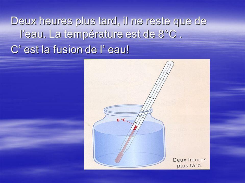 Deux heures plus tard, il ne reste que de l'eau. La température est de 8°C. C' est la fusion de l' eau!