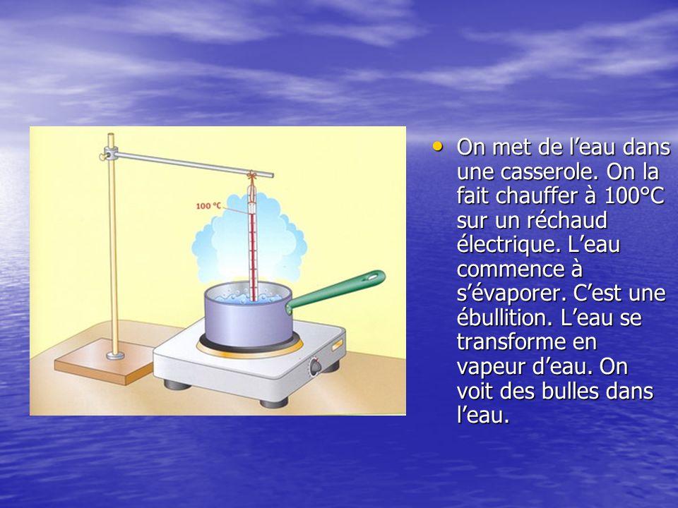 On met de l'eau dans une casserole. On la fait chauffer à 100°C sur un réchaud électrique. L'eau commence à s'évaporer. C'est une ébullition. L'eau se