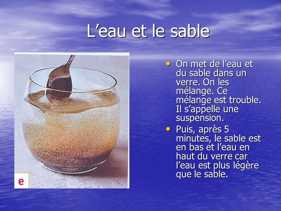 L'eau et le sable L'eau et le sable On met de l'eau et du sable dans un verre. On les mélange. Ce mélange est trouble. Il s'appelle une suspension. On