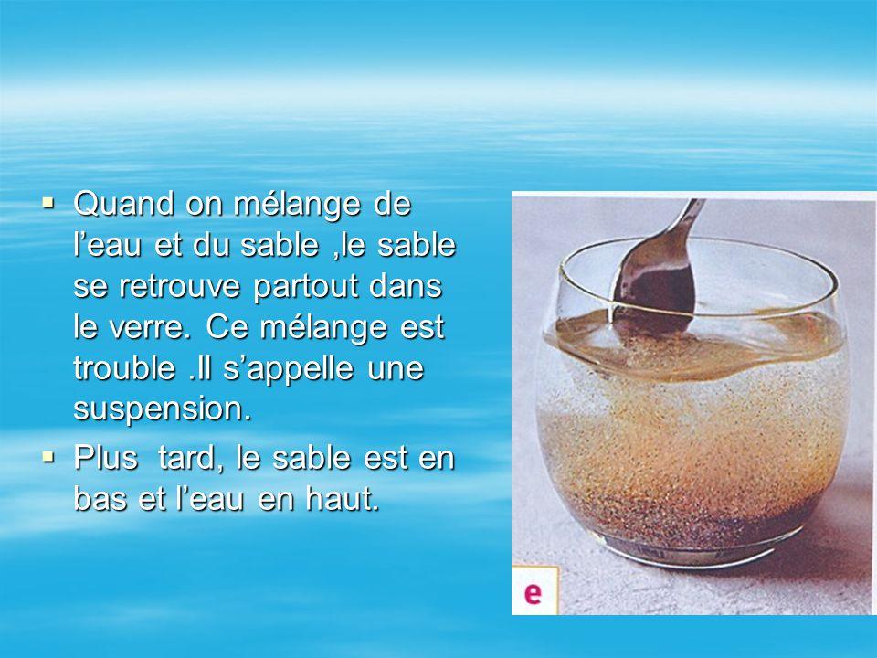 QQQQuand on mélange de l'eau et du sable,le sable se retrouve partout dans le verre. Ce mélange est trouble.Il s'appelle une suspension. PPPPl