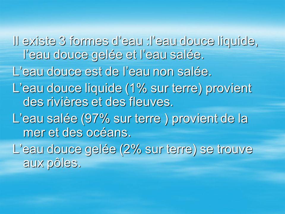 Il existe 3 formes d'eau :l'eau douce liquide, l'eau douce gelée et l'eau salée. L'eau douce est de l'eau non salée. L'eau douce liquide (1% sur terre