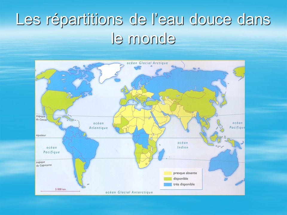 Les répartitions de l'eau douce dans le monde