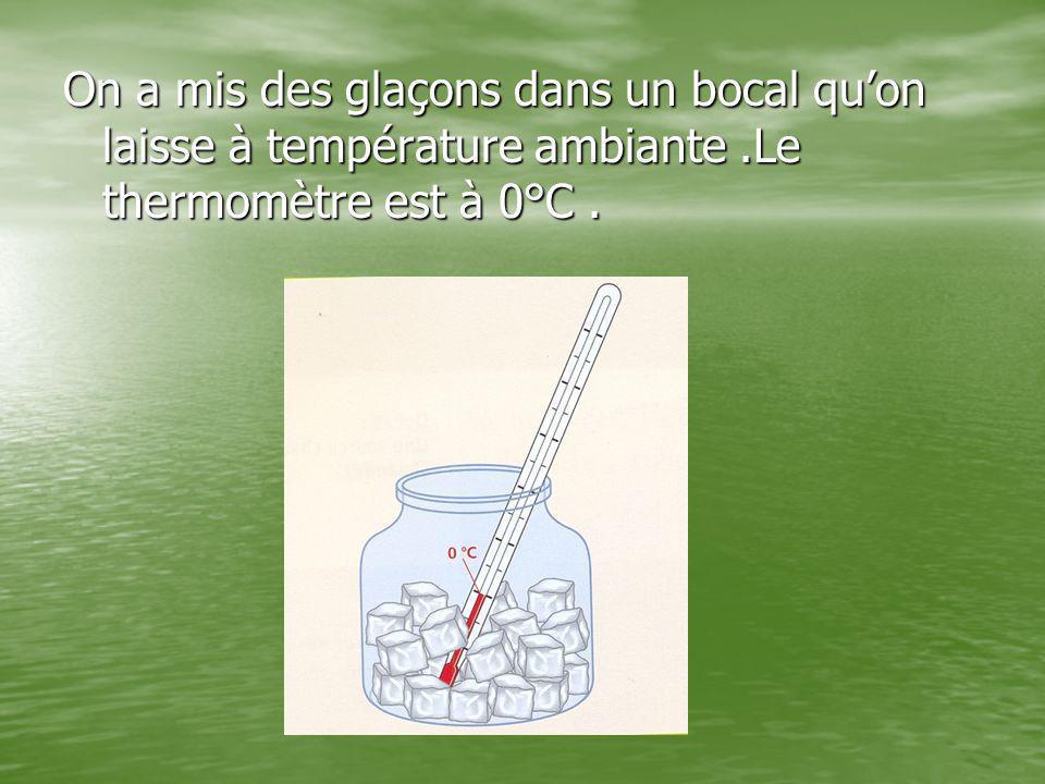On a mis des glaçons dans un bocal qu'on laisse à température ambiante.Le thermomètre est à 0°C.