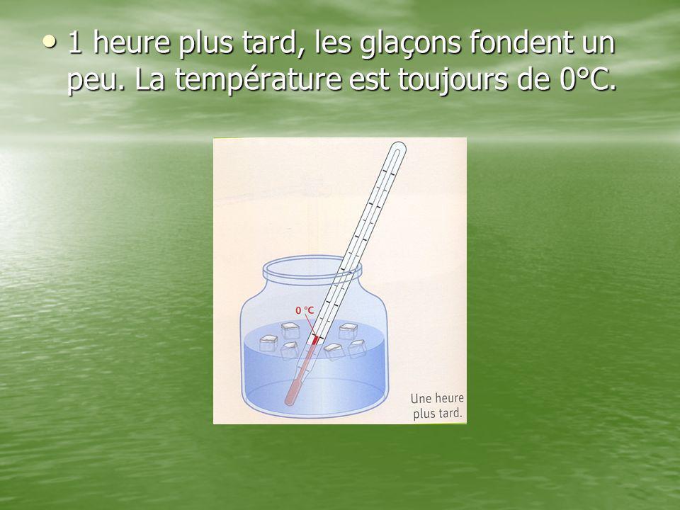 1 heure plus tard, les glaçons fondent un peu. La température est toujours de 0°C. 1 heure plus tard, les glaçons fondent un peu. La température est t