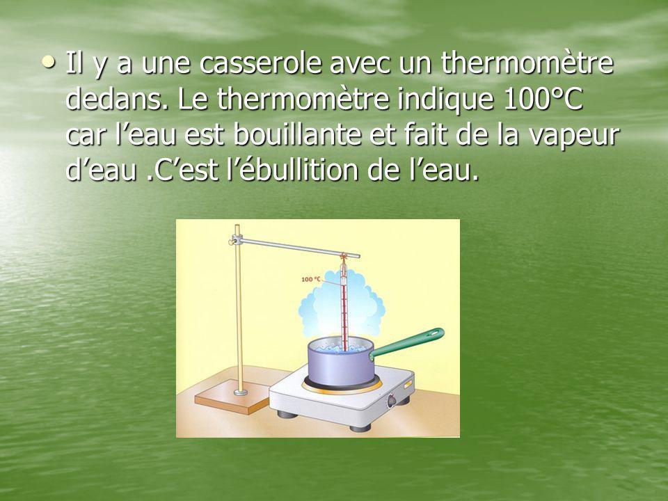 Il y a une casserole avec un thermomètre dedans. Le thermomètre indique 100°C car l'eau est bouillante et fait de la vapeur d'eau.C'est l'ébullition d