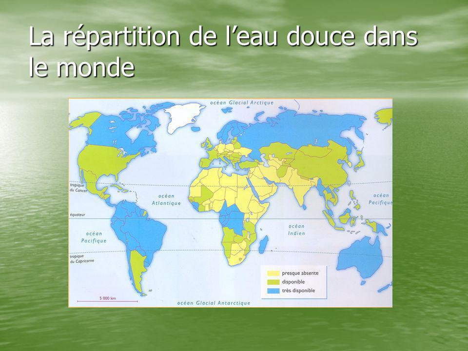 La répartition de l'eau douce dans le monde