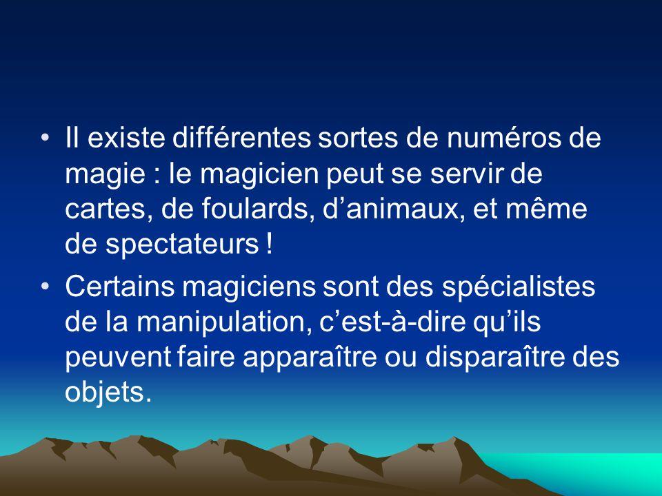 Il existe différentes sortes de numéros de magie : le magicien peut se servir de cartes, de foulards, d'animaux, et même de spectateurs .