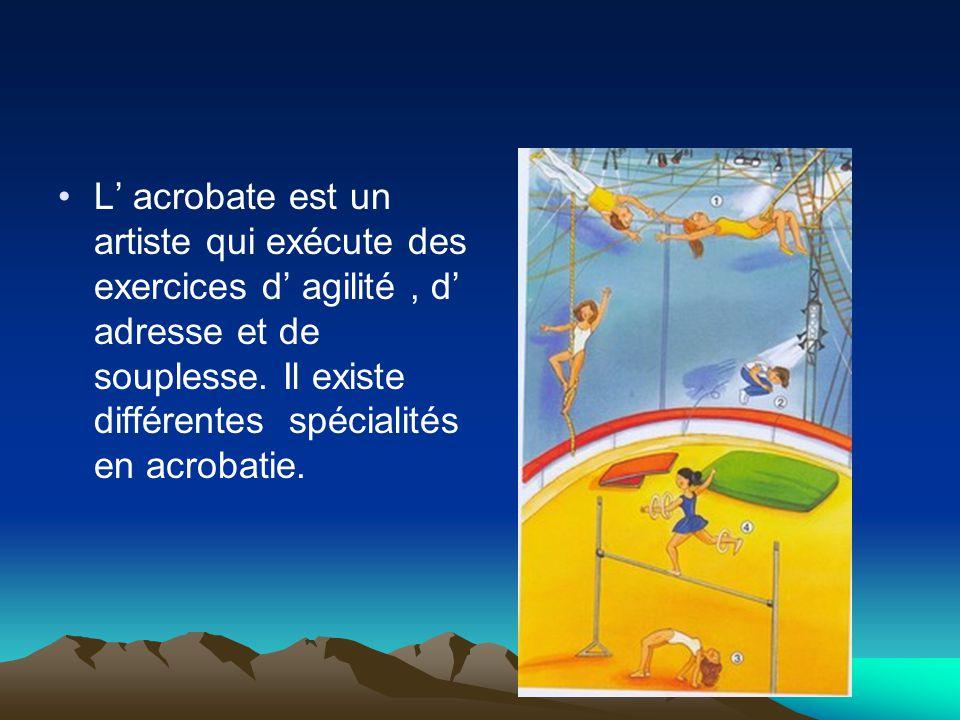 Parmi les acrobates, on distingue : les acrobates aériens,qui font des numéros dans les airs, les sauteurs,qui font de la voltige au sol, les contorsionnistes, qui se plient dans tous les sens, les funambules,qui peuvent se déplacer sur une corde tendue.
