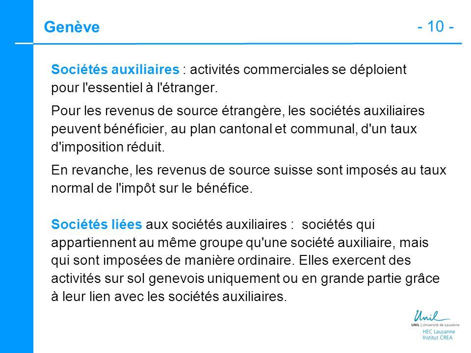 - 10 - Genève Sociétés auxiliaires : activités commerciales se déploient pour l'essentiel à l'étranger. Pour les revenus de source étrangère, les soci