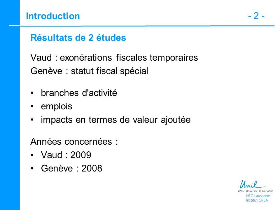 - 2 - Introduction Résultats de 2 études Vaud : exonérations fiscales temporaires Genève : statut fiscal spécial branches d activité emplois impacts en termes de valeur ajoutée Années concernées : Vaud : 2009 Genève : 2008