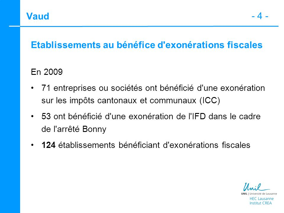 - 4 - Vaud Etablissements au bénéfice d'exonérations fiscales En 2009 71 entreprises ou sociétés ont bénéficié d'une exonération sur les impôts canton