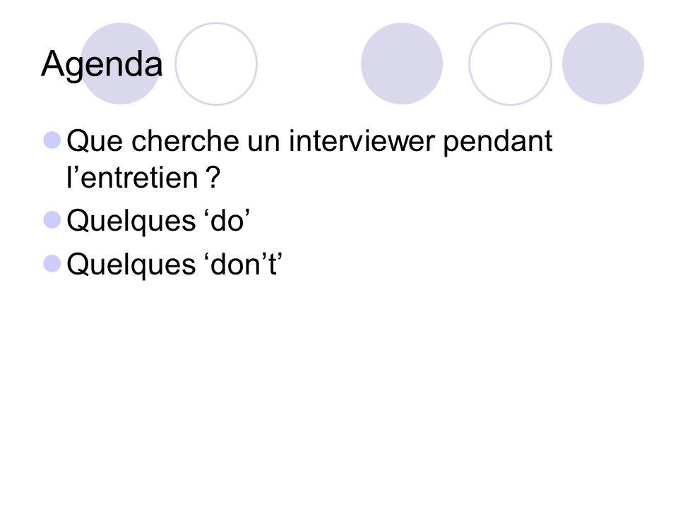 Agenda Que cherche un interviewer pendant l'entretien ? Quelques 'do' Quelques 'don't'