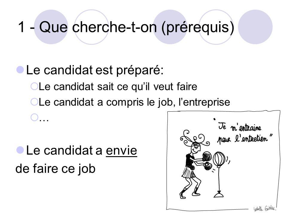 1 - Que cherche-t-on (prérequis) Le candidat est préparé:  Le candidat sait ce qu'il veut faire  Le candidat a compris le job, l'entreprise  … Le c